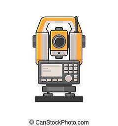 mérés, lézer, egyszintű, teodolit, tachymeter, devices.,...