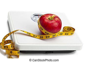 mérés, mérleg, szalag, alma, súly