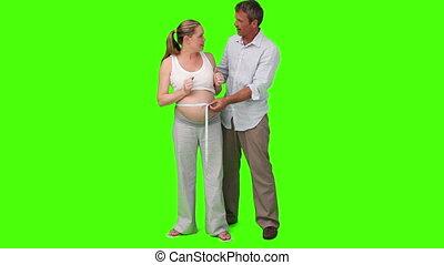 mérés, nő, terhes, övé, has, ember