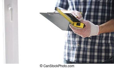 mérés, vonalzó, feláll, csipeszes írótábla, becsuk, ember