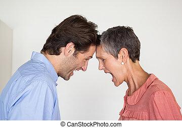 mérges, ügy emberek, kiabálás, -ban, egymást