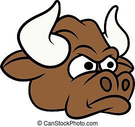 mérges, bika, fej, karikatúra