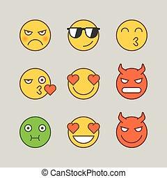 mérges, csókol, démon, emoticons, smile., böllér, szeret, undorító, furcsa