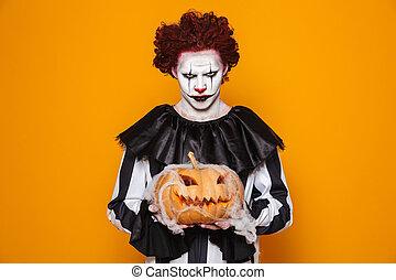 mérges, ember, öltözött, alatt, ijedős, bohóckodik, halloween kosztüm
