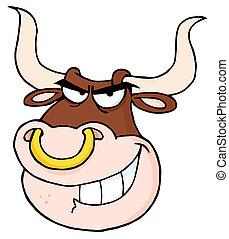 mérges, fej, karikatúra, bika, látszó