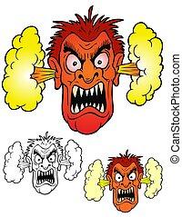 mérges, harag, ember, vulkanikus, kibújik, face.