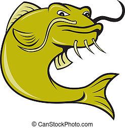Mérges, Karikatúra,  fish, harcsa