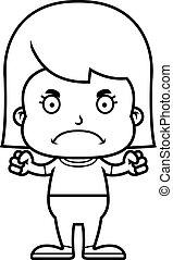 mérges, karikatúra, leány