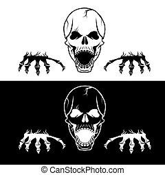 mérges, koponya, kézbesít