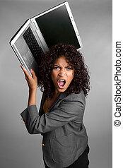 mérges, laptop, nő
