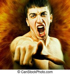 mérges, visító, tolóka lényeg, ember