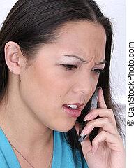 mérges woman, képben látható, cellphone