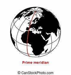 méridien, ligne, longitude, 0, premier