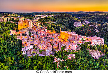 méridional, ville, italie, grosseto, sorano, province, toscane