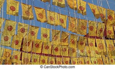 mérite, public, temple, drapeaux, thaï, prier, cérémonie