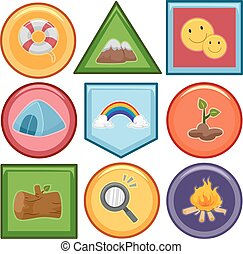 mérito, projeto fixo, emblemas, elementos