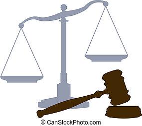mérleg, árverezői kalapács, jogi, méltányosság bíróság, rendszer, jelkép