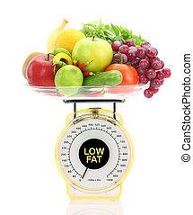 mérleg, concept., kövér, alacsony, gyümölcs, növényi, konyha