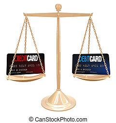 mérleg, mérés, -, hitel, vs, debit kártya