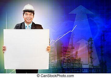 mérnök-tudomány, ember, noha, fehér, üres, fehér, széles, álló, előtt, olajfinomító, iparág, birtok, alkalmaz, helyett, ipari, téma