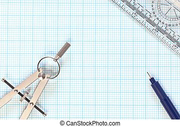 mérnök-tudomány, milliméterpapír, és, iránytű, halk élet