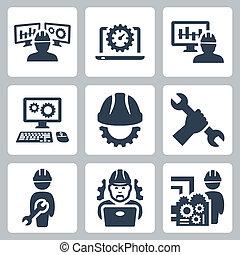 mérnök-tudomány, vektor, állhatatos, ikonok