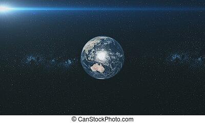 météore, étoilé, orbite, fond, la terre, filer, lueur