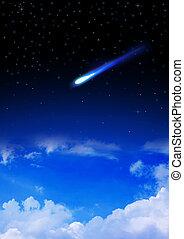 météore, entrer, les, earth's, atmosphère
