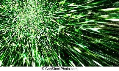 météore, fond, vert