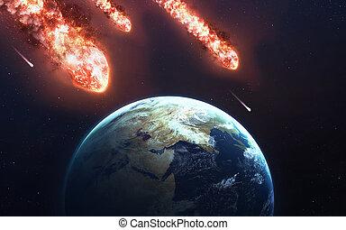météore, image, comète, étoile, puissant, énergie, éléments, moving., espace, ceci, tomber, meublé, astéroïde, rain., lueur, nasa