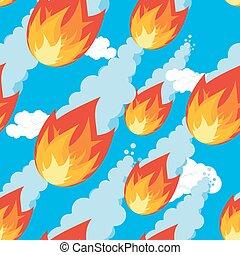 météore, texture, corps, flies., comète, cosmique, menace, pattern., brûler, seamless, ornament., oranment., météorite, extérieur, fireball., tomber, douche, voler, destruction