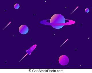 météores, espace, tendance, rocket., moderne, space., vecteur, illustration, gradient., planètes, ouvert, exploration.