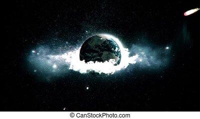 météorite, earth., hd, détruit