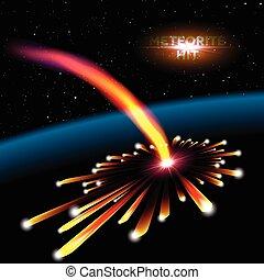 météorite, explosion, carte, espace