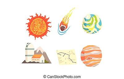 météorite, planètes, comètes, vecteur, espace, collection, astéroïdes, set.