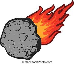 météorite, vecteur, illustration