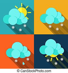 météorologie, moderne, conception, temps, icônes