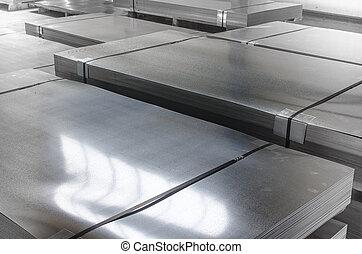 métal, étain, production, feuille, salle