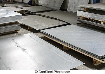 métal, étain, production, salle, feuille