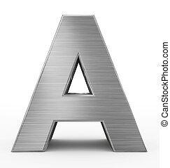 métal, 3d, isolé, lettre, blanc