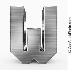 métal, 3d, isolé, lettre, cubique, w, blanc