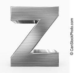 métal, 3d, isolé, lettre, z, cubique, blanc