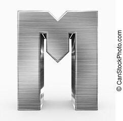 métal, 3d, isolé, m, lettre, cubique, blanc