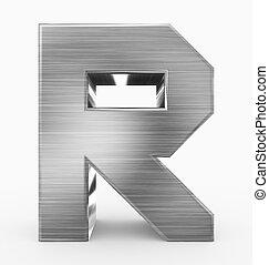 métal, 3d, isolé, r, lettre, cubique, blanc