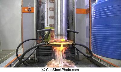 métal, acier, élevé, extinction, processus, current., machine., shaft., fréquence, durcissement, induction