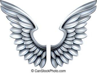 métal, argent, ailes