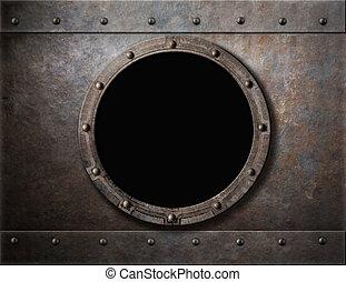métal, blindé, sous-marin, fenêtre, fond, hublot, ou