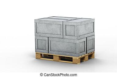 métal, boîtes, bois, chargé, transport, six, palette