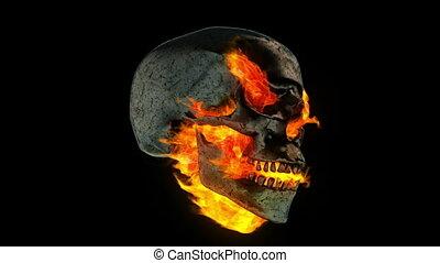 métal, brûlé, crâne