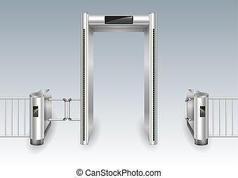 métal, cadre, portail, détecteur